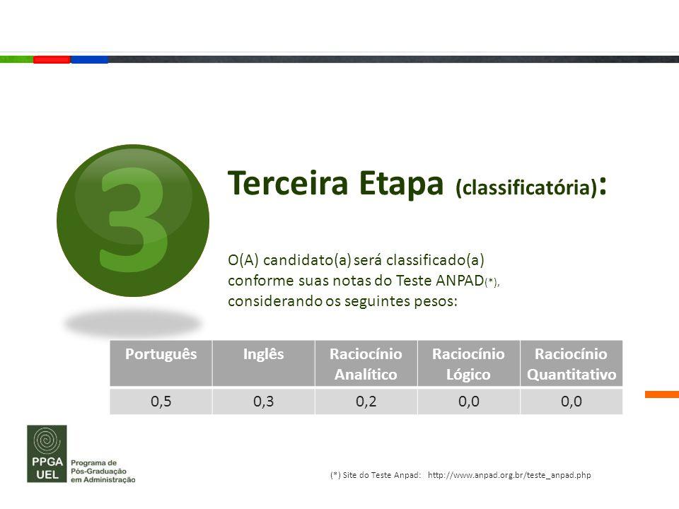 Terceira Etapa (classificatória) : O(A) candidato(a) será classificado(a) conforme suas notas do Teste ANPAD (*), considerando os seguintes pesos: 3 P