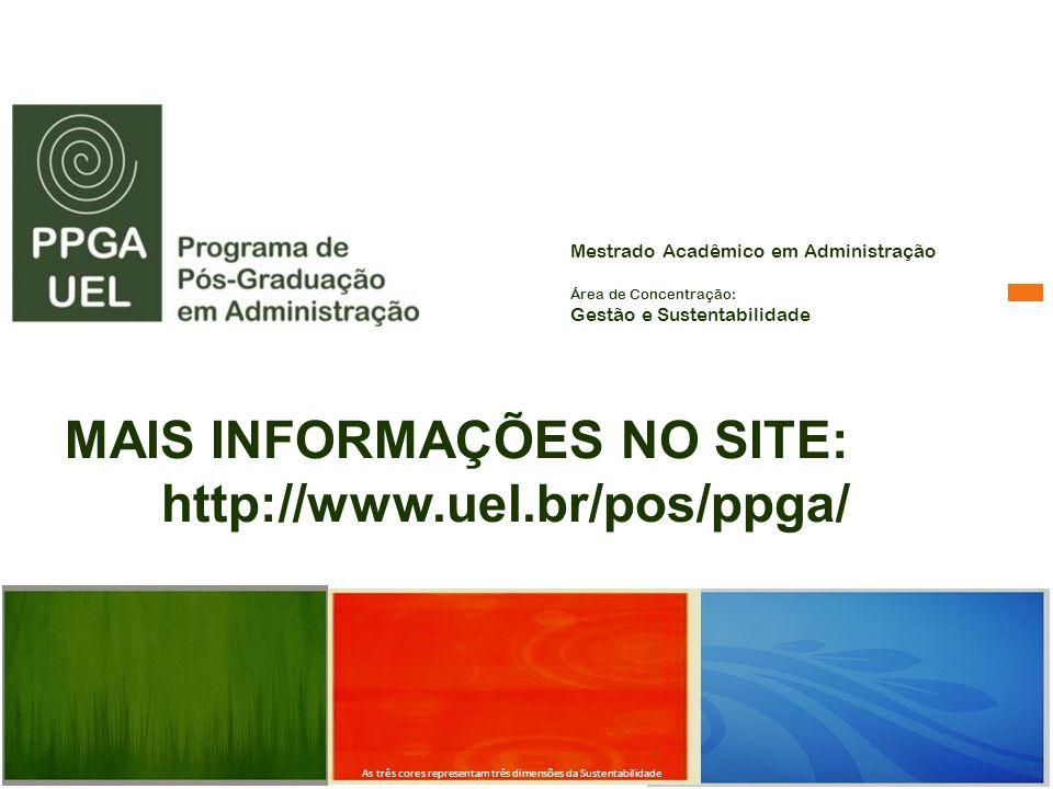 MAIS INFORMAÇÕES NO SITE: http://www.uel.br/pos/ppga/ Mestrado Acadêmico em Administração Área de Concentração: Gestão e Sustentabilidade As três core