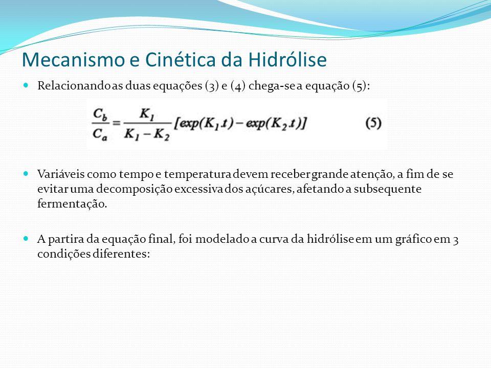 Mecanismo e Cinética da Hidrólise Relacionando as duas equações (3) e (4) chega-se a equação (5): Variáveis como tempo e temperatura devem receber gra