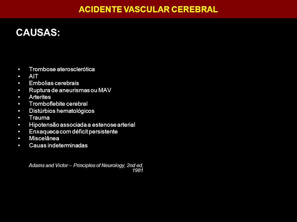 ACIDENTE VASCULAR CEREBRAL Hemicraniectomia descompressiva: Conclusões: - Evita aumento da área de isquemia.