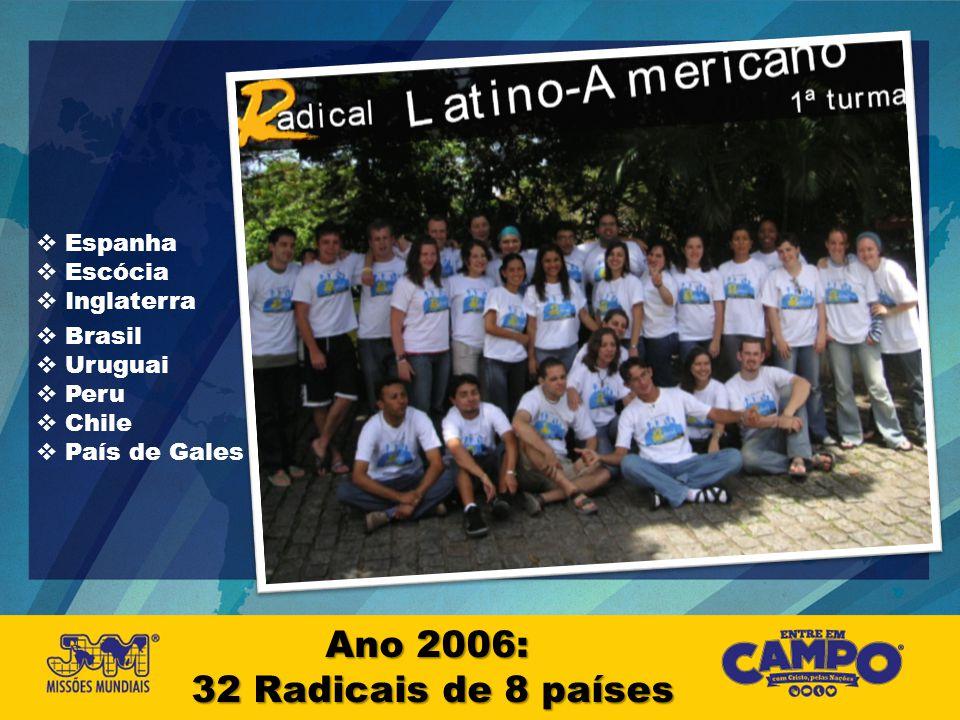 Ano 2006: 32 Radicais de 8 países Espanha Escócia Inglaterra Brasil Uruguai Peru Chile País de Gales