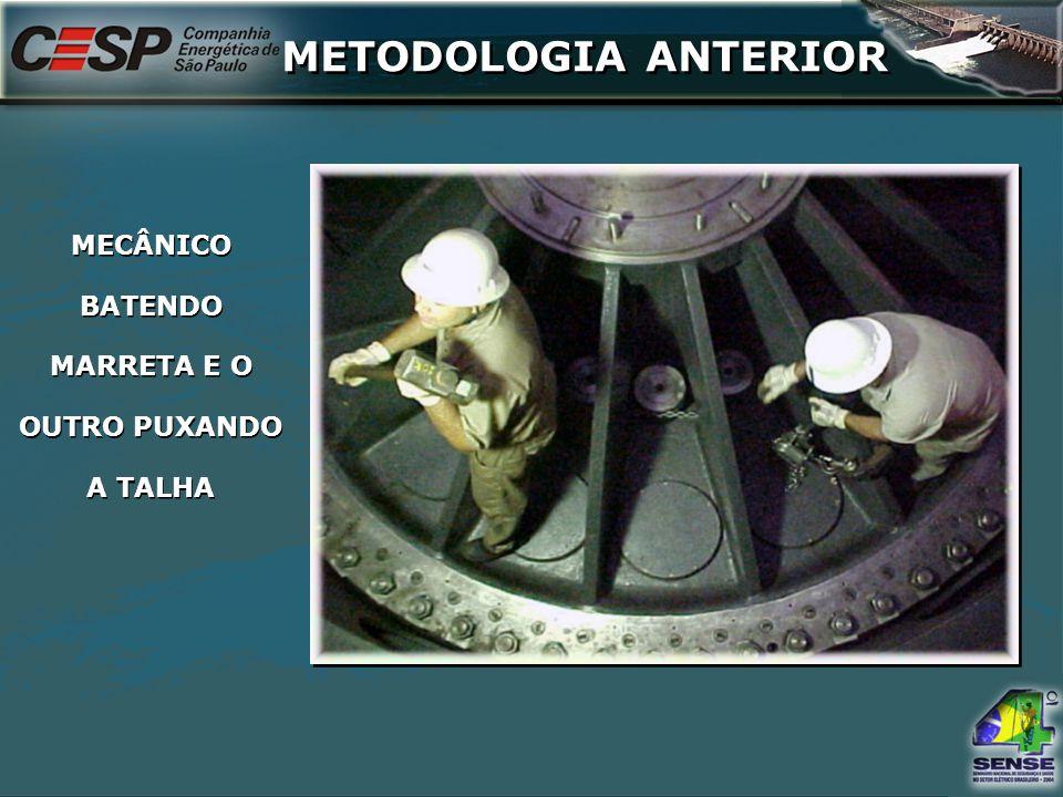 MECÂNICO BATENDO MARRETA E O OUTRO PUXANDO A TALHA METODOLOGIA ANTERIOR
