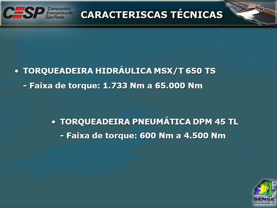 CARACTERISCAS TÉCNICAS TORQUEADEIRA HIDRÁULICA MSX/T 650 TS - Faixa de torque: 1.733 Nm a 65.000 Nm TORQUEADEIRA HIDRÁULICA MSX/T 650 TS - Faixa de to