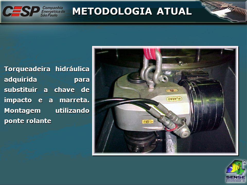 Torqueadeira hidráulica adquirida para substituir a chave de impacto e a marreta. Montagem utilizando ponte rolante METODOLOGIA ATUAL