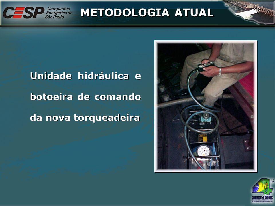 Unidade hidráulica e botoeira de comando da nova torqueadeira METODOLOGIA ATUAL