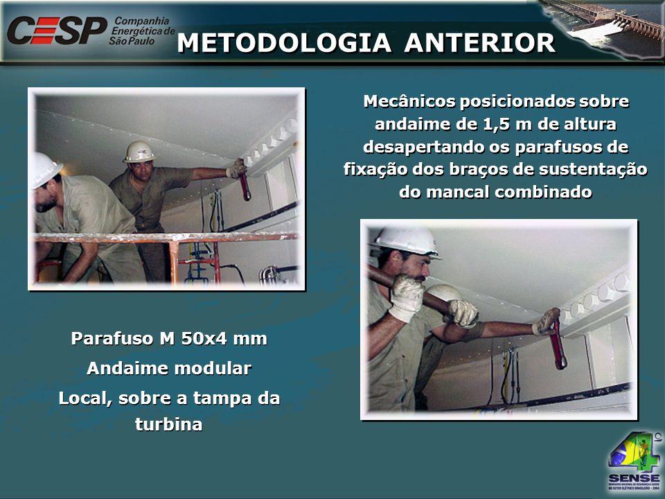 Mecânicos posicionados sobre andaime de 1,5 m de altura desapertando os parafusos de fixação dos braços de sustentação do mancal combinado Parafuso M