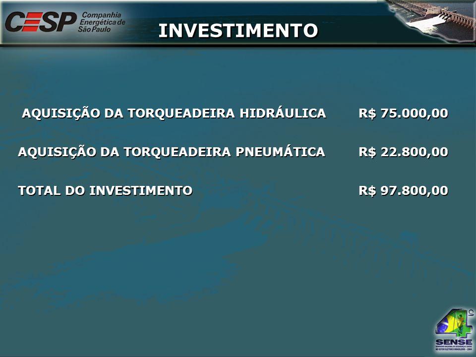 INVESTIMENTO AQUISIÇÃO DA TORQUEADEIRA HIDRÁULICAR$ 75.000,00 AQUISIÇÃO DA TORQUEADEIRA PNEUMÁTICAR$ 22.800,00 TOTAL DO INVESTIMENTOR$ 97.800,00 AQUIS