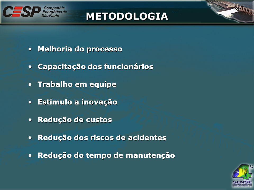 METODOLOGIA Melhoria do processo Capacitação dos funcionários Trabalho em equipe Estímulo a inovação Redução de custos Redução dos riscos de acidentes