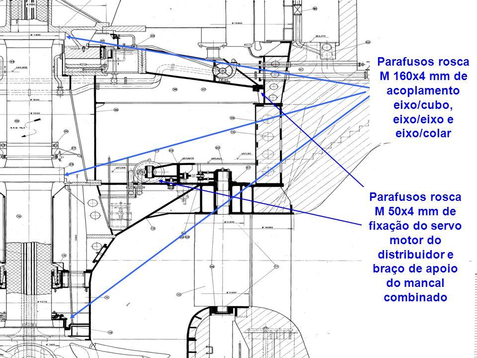 Parafusos rosca M 160x4 mm de acoplamento eixo/cubo, eixo/eixo e eixo/colar Parafusos rosca M 50x4 mm de fixação do servo motor do distribuidor e braç