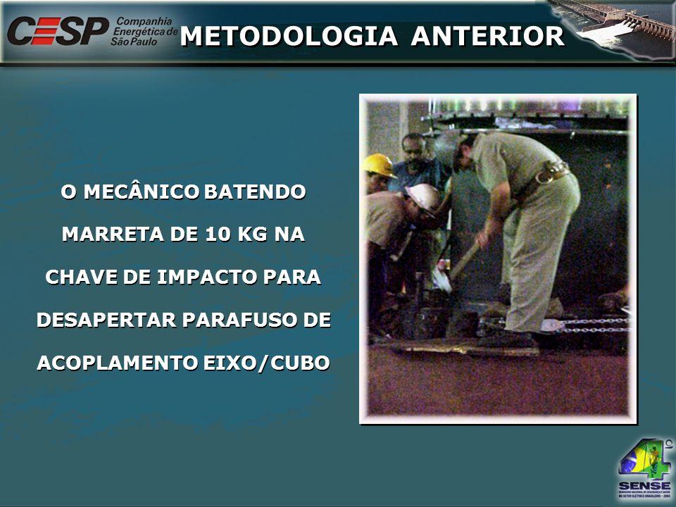 CHAVE DE IMPACTO (PESO 17 KG) UTILIZADA PARA SOLTAR OS PARAFUSOS DE ACOPLAMENTO DO EIXO.
