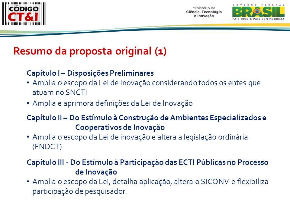 Capítulo I – Disposições Preliminares Amplia o escopo da Lei de Inovação considerando todos os entes que atuam no SNCTI Amplia e aprimora definições da Lei de Inovação Capítulo II – Do Estímulo à Construção de Ambientes Especializados e Cooperativos de Inovação Amplia o escopo da Lei de inovação e altera a legislação ordinária (FNDCT) Capítulo III - Do Estímulo à Participação das ECTI Públicas no Processo de Inovação Amplia o escopo da Lei, detalha aplicação, altera o SICONV e flexibiliza participação de pesquisador.