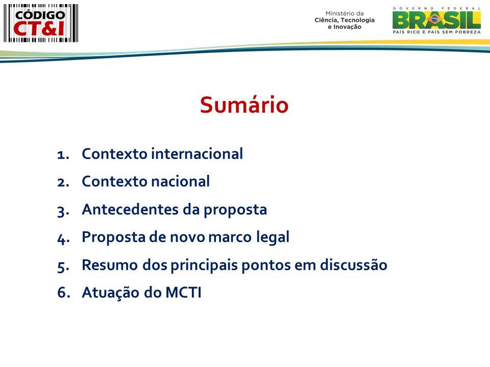 1.Contexto internacional 2.Contexto nacional 3.Antecedentes da proposta 4.Proposta de novo marco legal 5.Resumo dos principais pontos em discussão 6.Atuação do MCTI Sumário