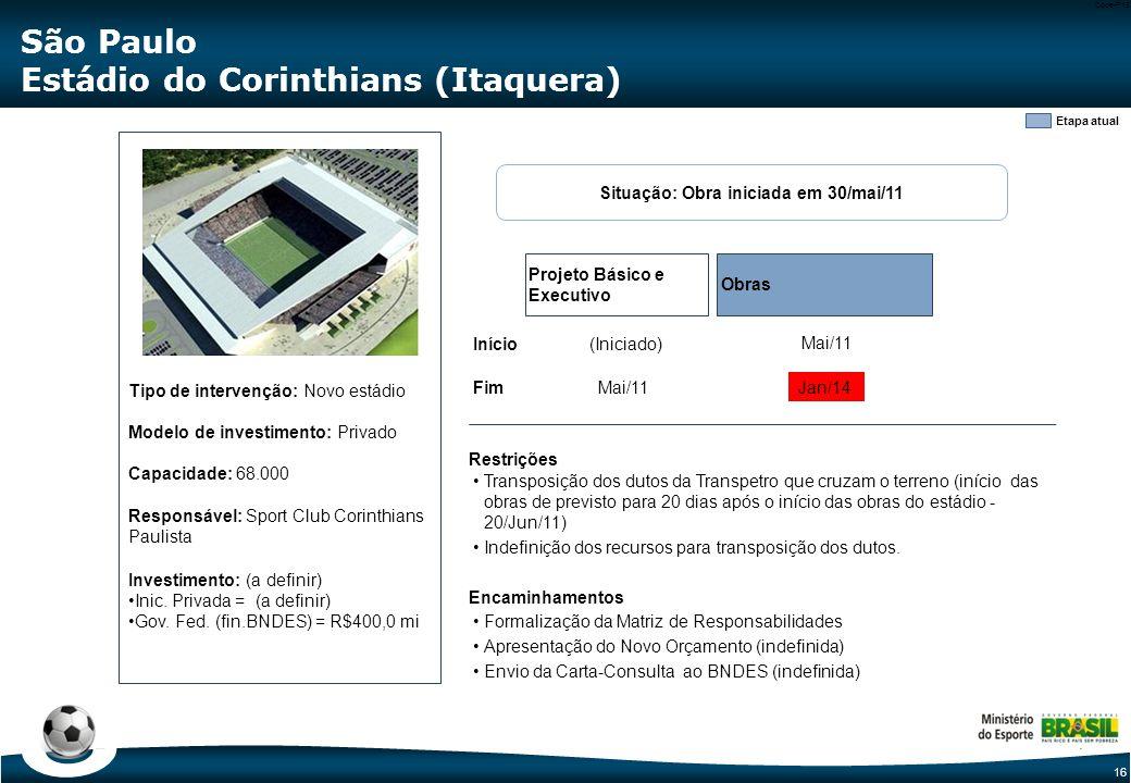16 Code-P16 Etapa atual Tipo de intervenção: Novo estádio Modelo de investimento: Privado Capacidade: 68.000 Responsável: Sport Club Corinthians Paulista Investimento: (a definir) Inic.