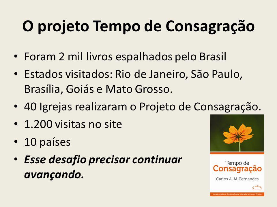 O projeto Tempo de Consagração Foram 2 mil livros espalhados pelo Brasil Estados visitados: Rio de Janeiro, São Paulo, Brasília, Goiás e Mato Grosso.