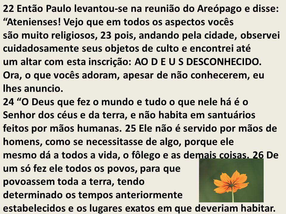 22 Então Paulo levantou-se na reunião do Areópago e disse: Atenienses! Vejo que em todos os aspectos vocês são muito religiosos, 23 pois, andando pela
