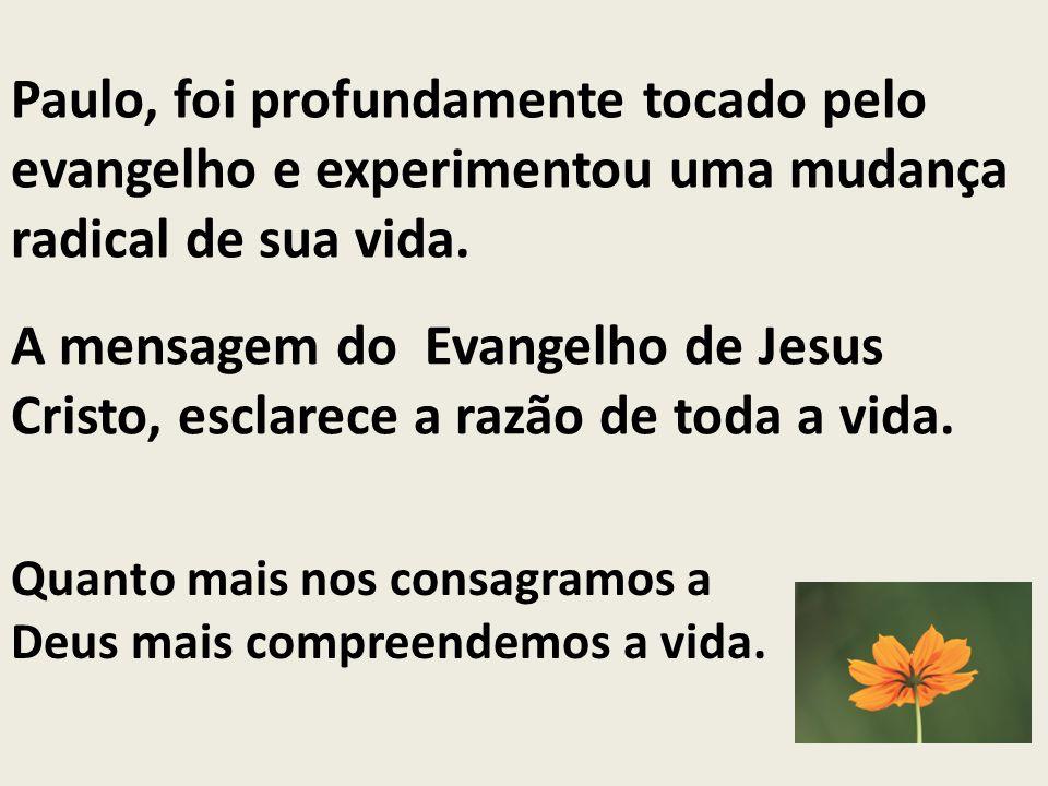 A mensagem do Evangelho de Jesus Cristo, esclarece a razão de toda a vida. Paulo, foi profundamente tocado pelo evangelho e experimentou uma mudança r