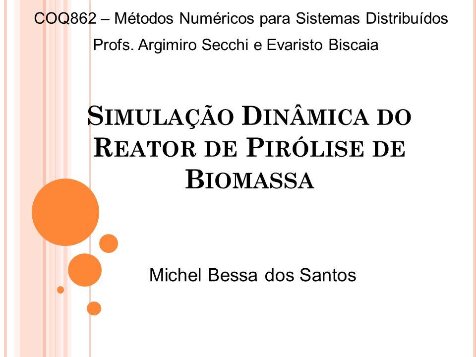 S IMULAÇÃO D INÂMICA DO R EATOR DE P IRÓLISE DE B IOMASSA Profs. Argimiro Secchi e Evaristo Biscaia COQ862 – Métodos Numéricos para Sistemas Distribuí