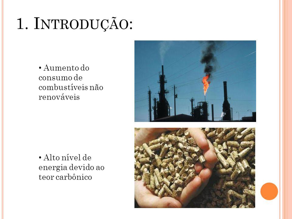 1. I NTRODUÇÃO : Aumento do consumo de combustíveis não renováveis Alto nível de energia devido ao teor carbônico