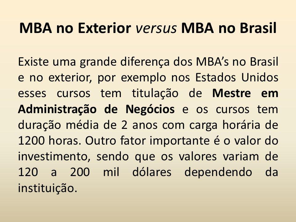 MBA no Exterior versus MBA no Brasil Existe uma grande diferença dos MBAs no Brasil e no exterior, por exemplo nos Estados Unidos esses cursos tem tit