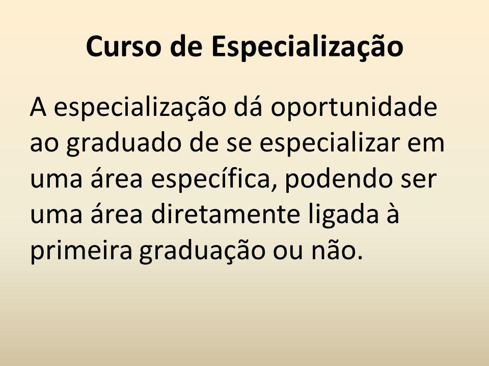 Curso de Especialização A especialização dá oportunidade ao graduado de se especializar em uma área específica, podendo ser uma área diretamente ligad