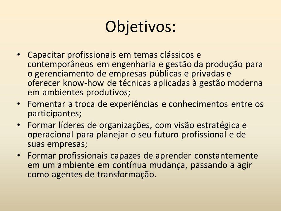 Objetivos: Capacitar profissionais em temas clássicos e contemporâneos em engenharia e gestão da produção para o gerenciamento de empresas públicas e
