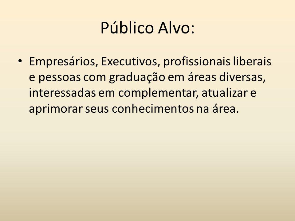 Público Alvo: Empresários, Executivos, profissionais liberais e pessoas com graduação em áreas diversas, interessadas em complementar, atualizar e apr