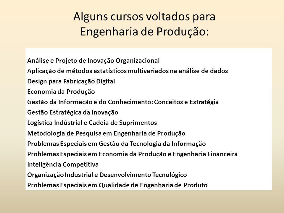 Alguns cursos voltados para Engenharia de Produção: Análise e Projeto de Inovação Organizacional Aplicação de métodos estatísticos multivariados na an