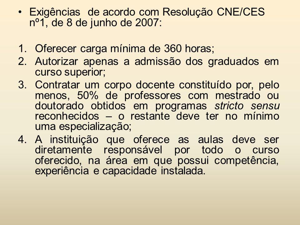 Exigências de acordo com Resolução CNE/CES nº1, de 8 de junho de 2007: 1.Oferecer carga mínima de 360 horas; 2.Autorizar apenas a admissão dos graduad