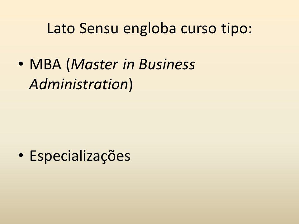 Lato Sensu engloba curso tipo: MBA (Master in Business Administration) Especializações