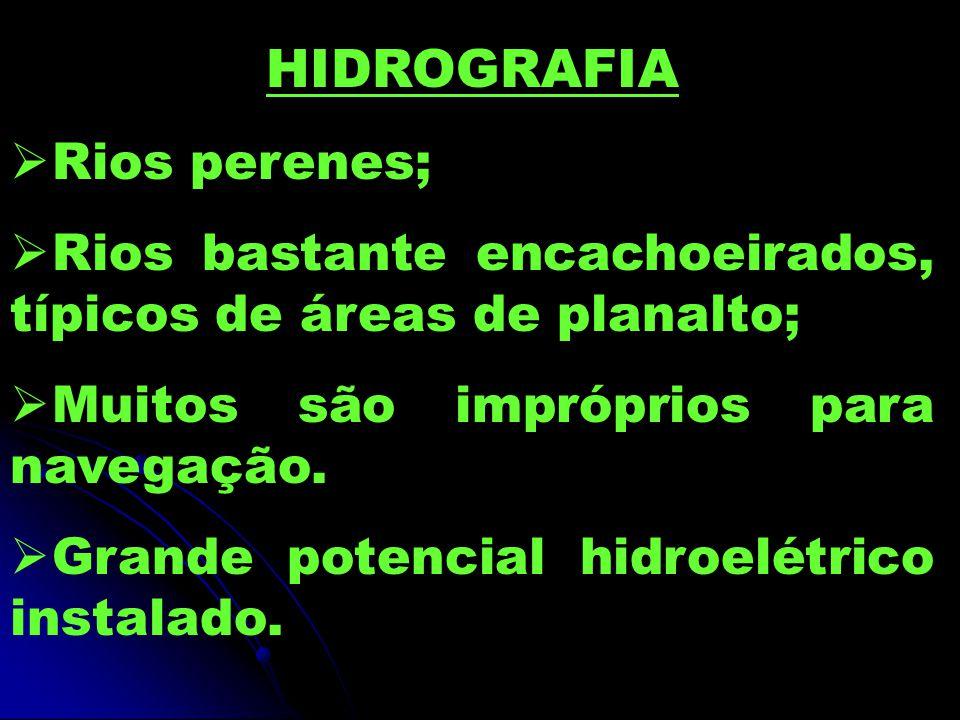 HIDROGRAFIA Rios perenes; Rios bastante encachoeirados, típicos de áreas de planalto; Muitos são impróprios para navegação. Grande potencial hidroelét