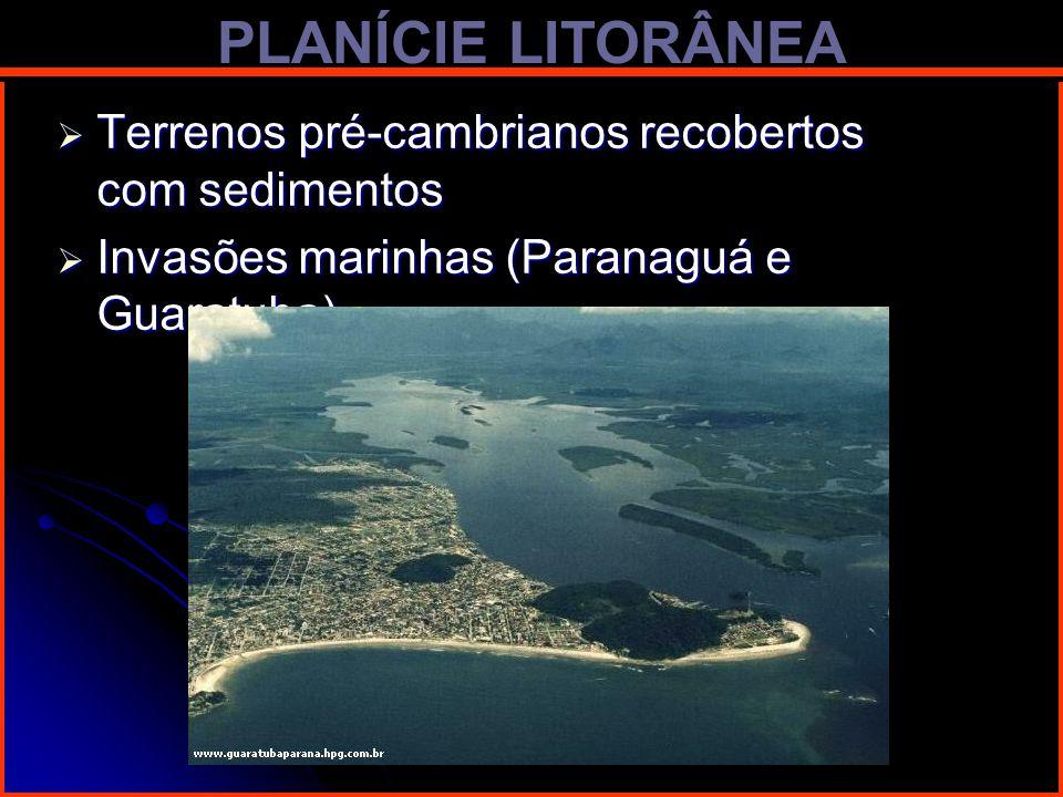 PLANÍCIE LITORÂNEA Terrenos pré-cambrianos recobertos com sedimentos Terrenos pré-cambrianos recobertos com sedimentos Invasões marinhas (Paranaguá e
