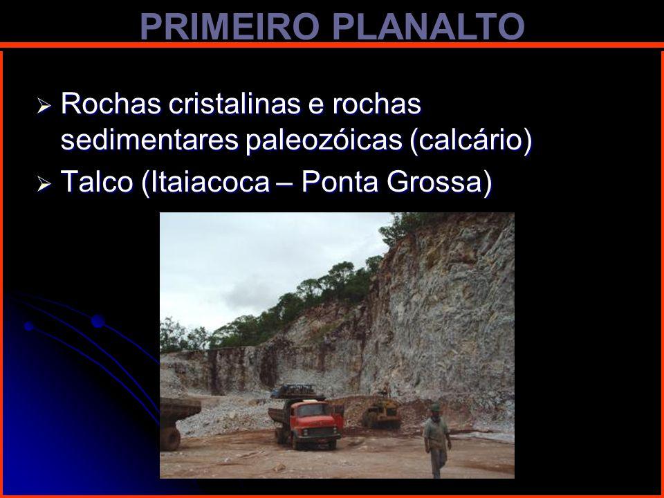 PRIMEIRO PLANALTO Rochas cristalinas e rochas sedimentares paleozóicas (calcário) Rochas cristalinas e rochas sedimentares paleozóicas (calcário) Talc