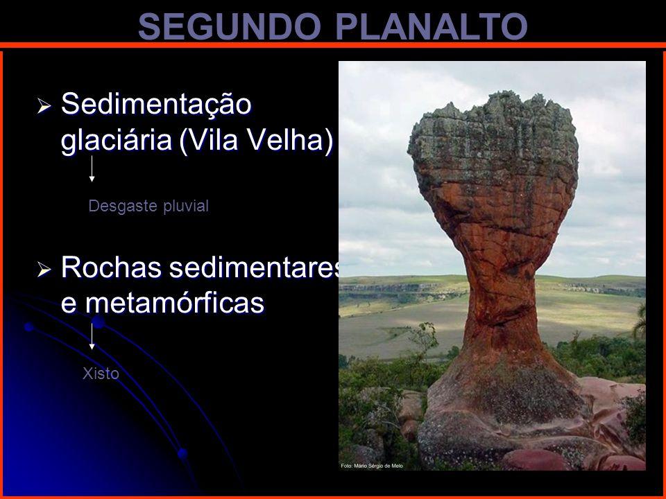 SEGUNDO PLANALTO Sedimentação glaciária (Vila Velha) Sedimentação glaciária (Vila Velha) Rochas sedimentares e metamórficas Rochas sedimentares e meta