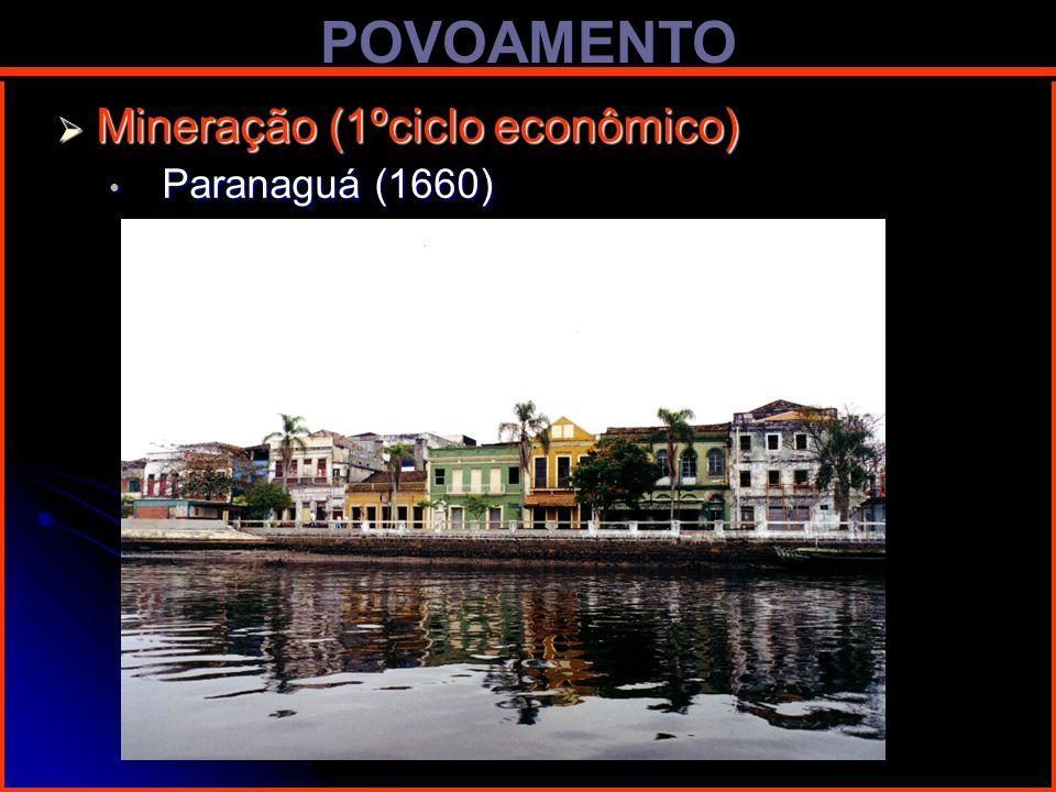 POVOAMENTO Mineração (1ºciclo econômico) Mineração (1ºciclo econômico) Paranaguá (1660) Paranaguá (1660)