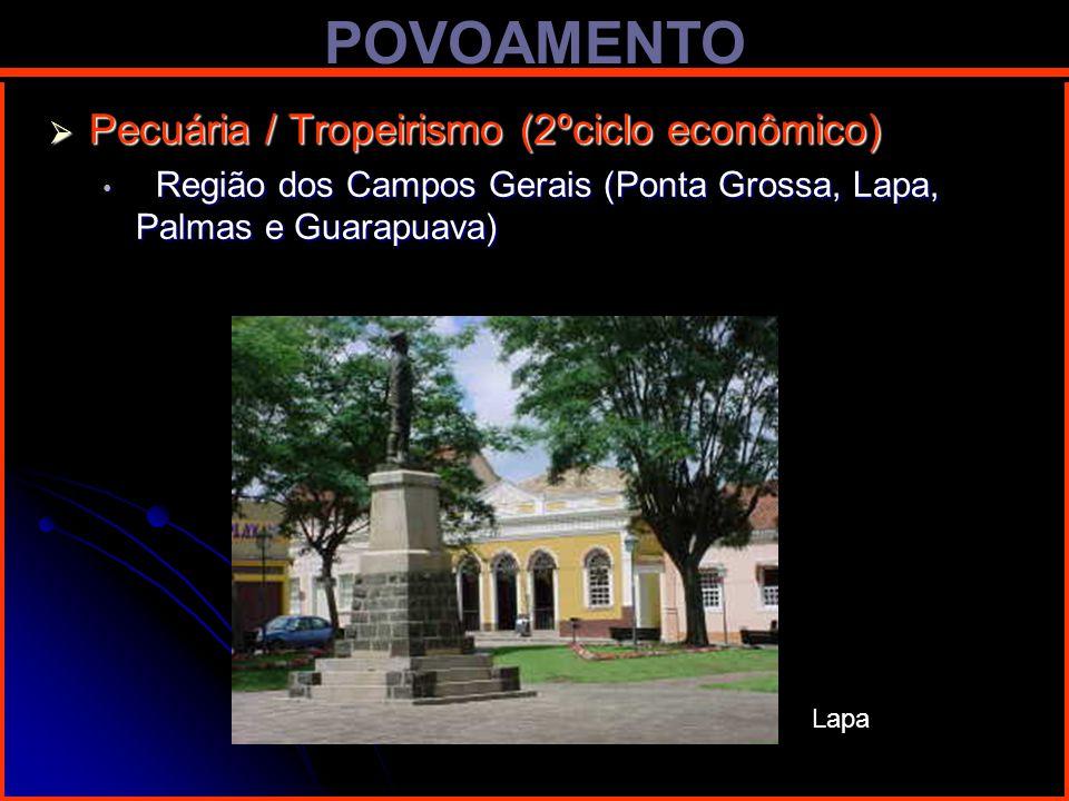 POVOAMENTO Pecuária / Tropeirismo (2ºciclo econômico) Pecuária / Tropeirismo (2ºciclo econômico) Região dos Campos Gerais (Ponta Grossa, Lapa, Palmas