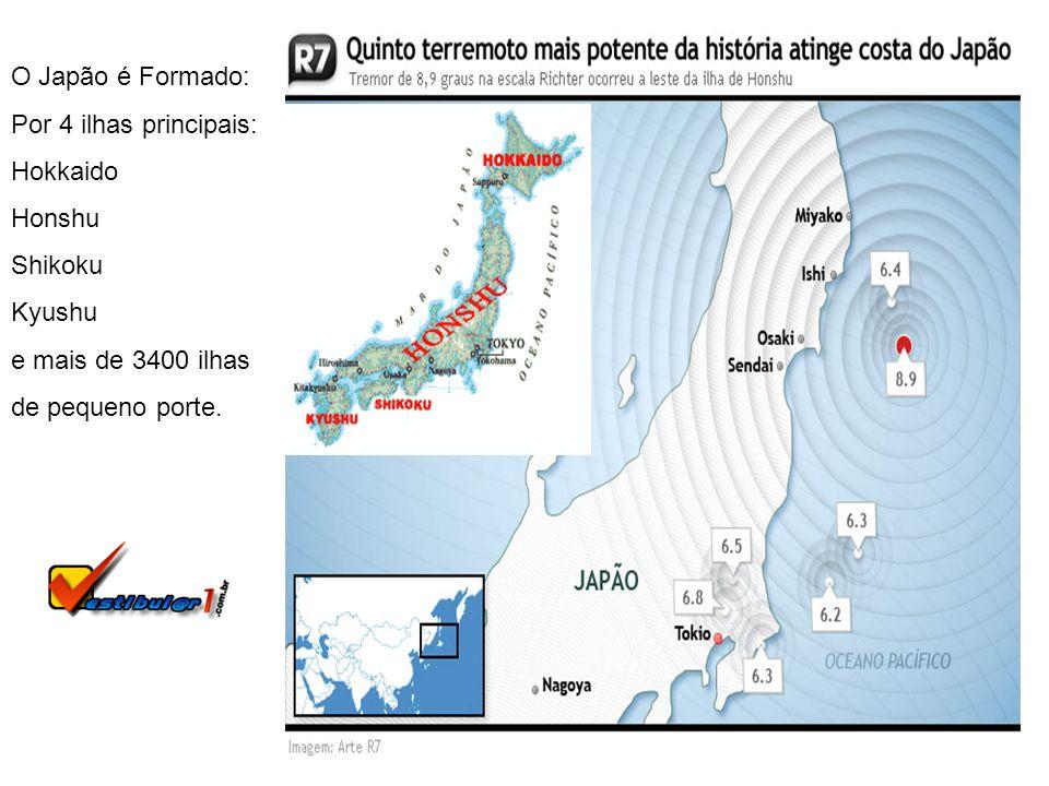 O Japão é Formado: Por 4 ilhas principais: Hokkaido Honshu Shikoku Kyushu e mais de 3400 ilhas de pequeno porte.