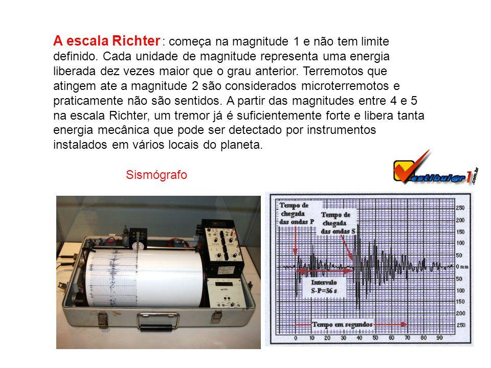 A escala Richter : começa na magnitude 1 e não tem limite definido.