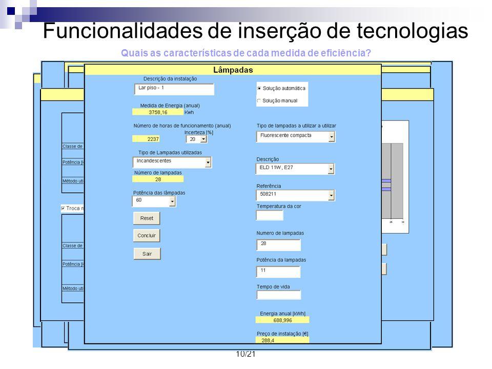 10/21 Quais as características de cada medida de eficiência? Funcionalidades de inserção de tecnologias