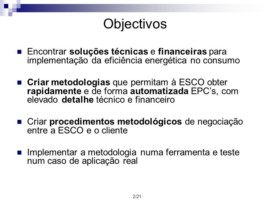 2/21 Objectivos Encontrar soluções técnicas e financeiras para implementação da eficiência energética no consumo Criar metodologias que permitam à ESC