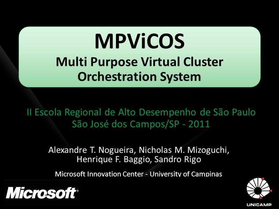 MPViCOS Multi Purpose Virtual Cluster Orchestration System II Escola Regional de Alto Desempenho de São Paulo São José dos Campos/SP - 2011 Alexandre
