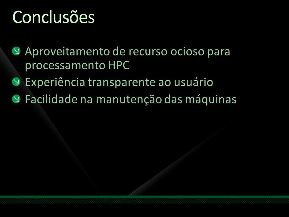 Conclusões Aproveitamento de recurso ocioso para processamento HPC Experiência transparente ao usuário Facilidade na manutenção das máquinas