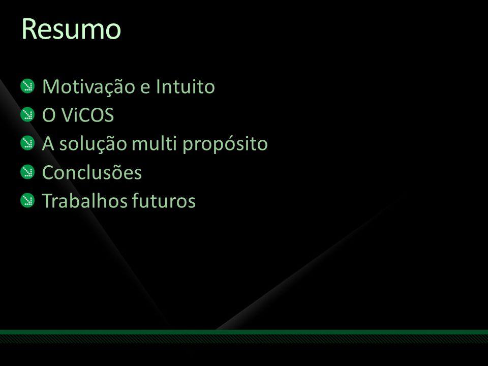 Resumo Motivação e Intuito O ViCOS A solução multi propósito Conclusões Trabalhos futuros