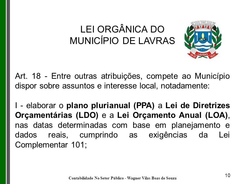 10 LEI ORGÂNICA DO MUNICÍPIO DE LAVRAS Art. 18 - Entre outras atribuições, compete ao Município dispor sobre assuntos e interesse local, notadamente: