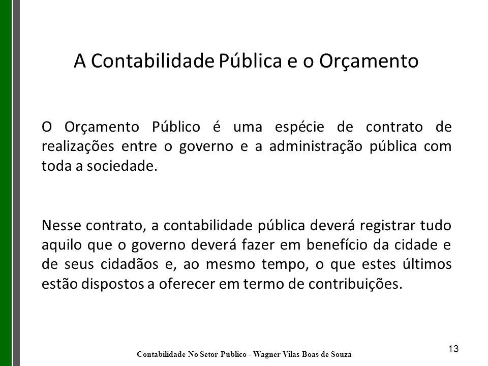 13 O Orçamento Público é uma espécie de contrato de realizações entre o governo e a administração pública com toda a sociedade. Nesse contrato, a cont
