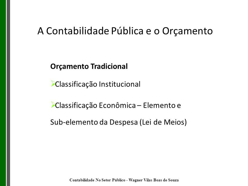 Orçamento Tradicional Classificação Institucional Classificação Econômica – Elemento e Sub-elemento da Despesa (Lei de Meios) A Contabilidade Pública