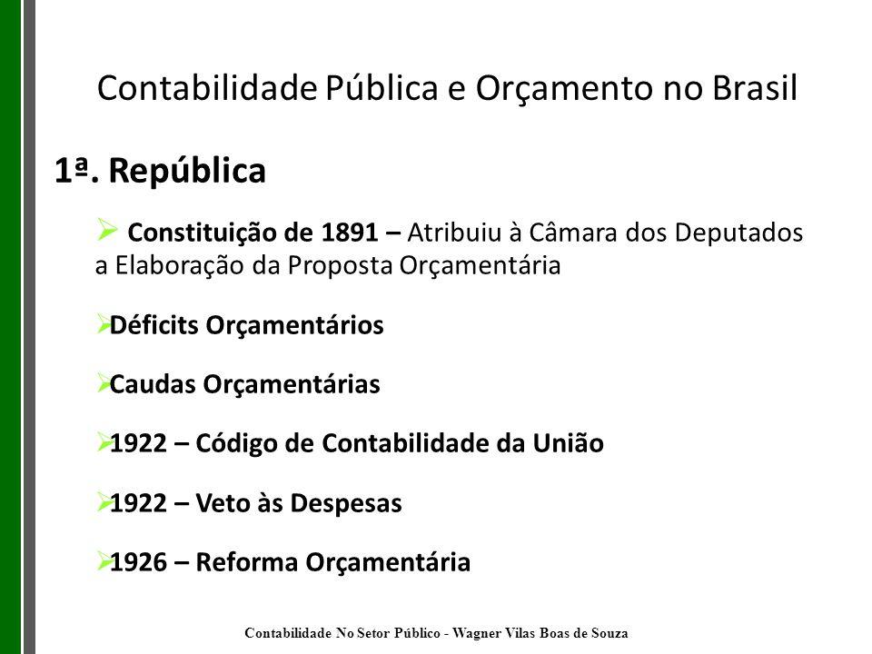 1ª. República Constituição de 1891 – Atribuiu à Câmara dos Deputados a Elaboração da Proposta Orçamentária Déficits Orçamentários Caudas Orçamentárias