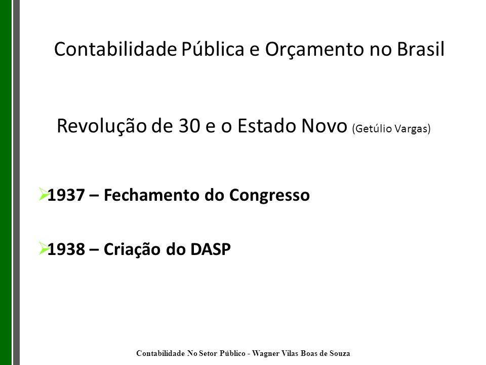 Revolução de 30 e o Estado Novo (Getúlio Vargas) 1937 – Fechamento do Congresso 1938 – Criação do DASP Contabilidade Pública e Orçamento no Brasil Con