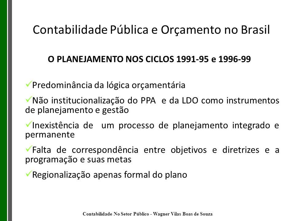 O PLANEJAMENTO NOS CICLOS 1991-95 e 1996-99 Predominância da lógica orçamentária Não institucionalização do PPA e da LDO como instrumentos de planejam