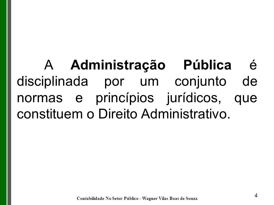 4 A Administração Pública é disciplinada por um conjunto de normas e princípios jurídicos, que constituem o Direito Administrativo. Contabilidade No S