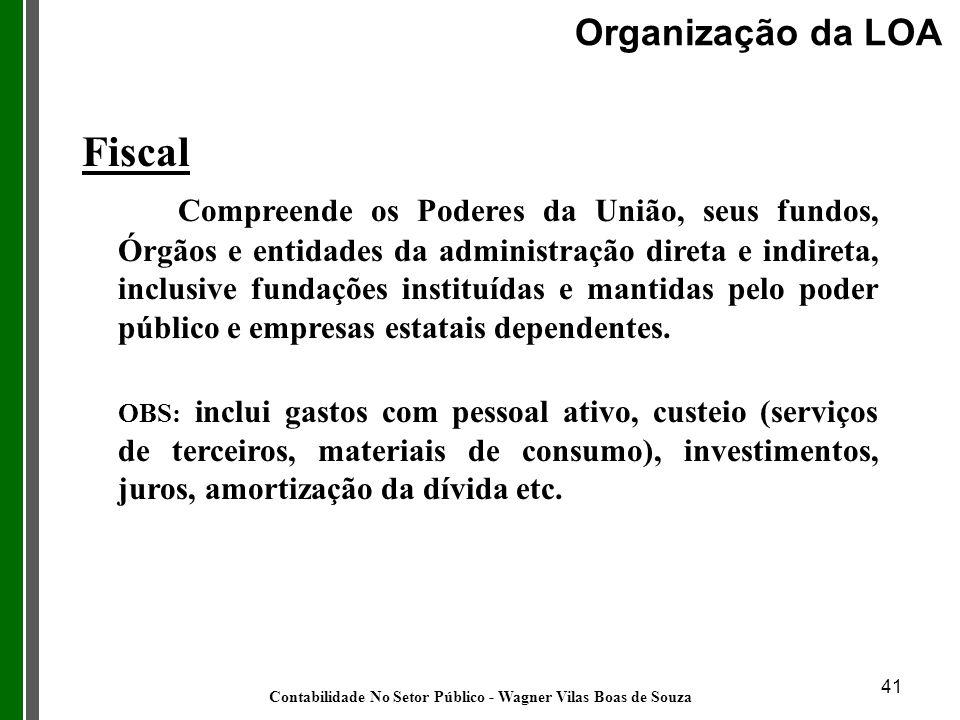 41 Fiscal Compreende os Poderes da União, seus fundos, Órgãos e entidades da administração direta e indireta, inclusive fundações instituídas e mantid